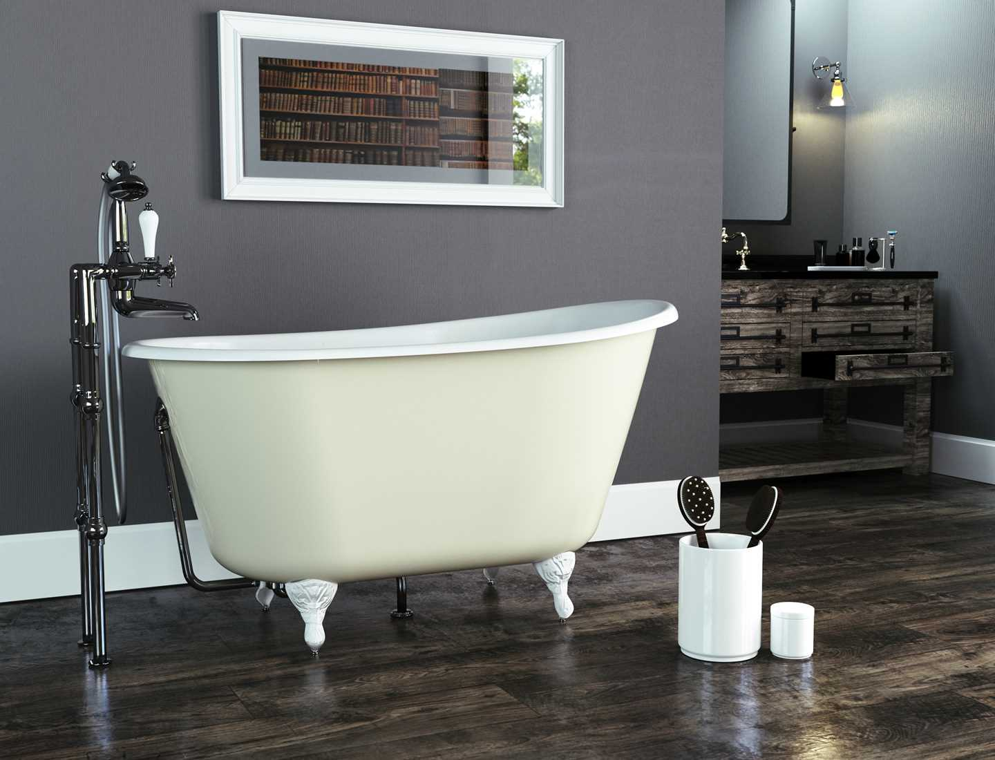 Lorenzo cast iron bath painted with white feet