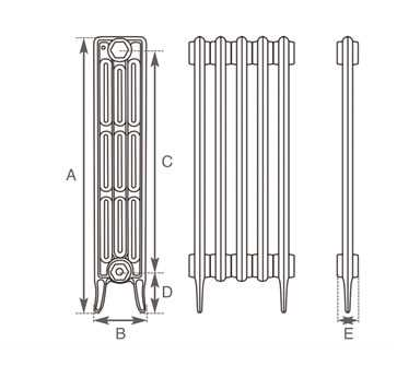 Victoriana 4 column radiator measurements