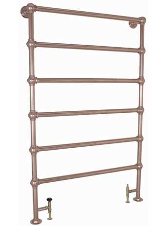 Colossus 6 bar heated towel rail floor mounted copper