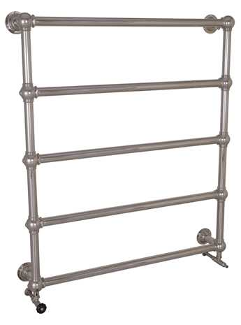 Colossus nickel heated towel rail wall mounted 5 bar