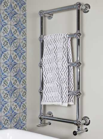 Wall mounted heated towel rail 5 bar chrome