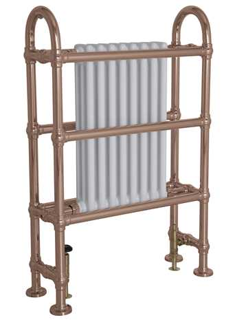 Horse towel rail with integral white steel radiator in copper