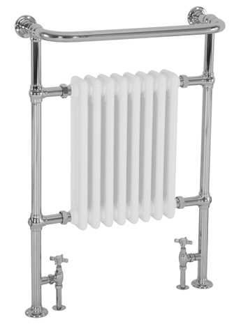 Welbourne floor mounted towel rail with integral white radiator in chrome