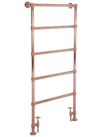Heated floor mounted towel rail copper finish