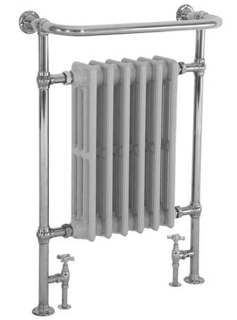 Heated towel rail with integral cast iron radiator in chrome finish