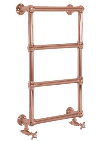 Bassingham wall mounted heated towel rail in copper