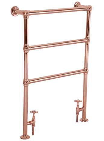 Floor mounted heated towel rail in copper - 3 bar