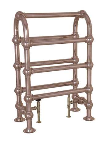 Heated horse towel rail - floor mounted in copper