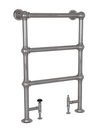 Heated floor mounted towel rail in chrome - 3 bar