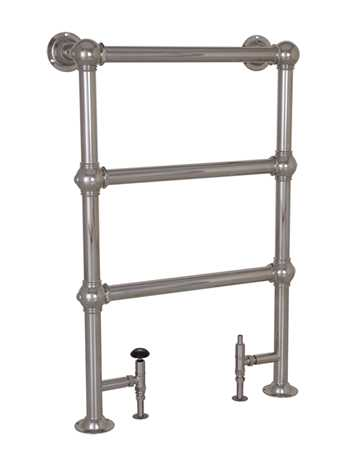 Heated floor mounted towel rail in nickel