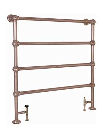 Heated floor mounted towel rail in copper - 4 bar