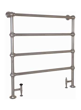 Heated floor mounted towel rail in nickel - 4 bar