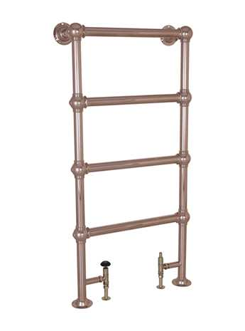 Floor mounted heated towel rail in copper - 4 bar