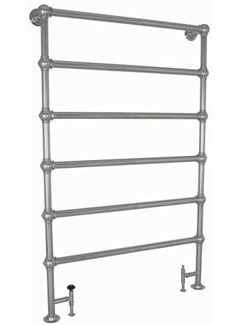 Heated towel rail floor mounted with 6 bars in chrome
