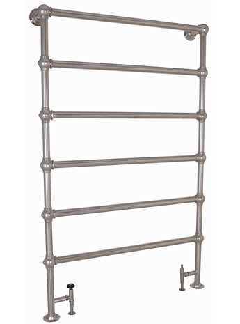 Heated towel rail floor mounted with 6 bars in nickel