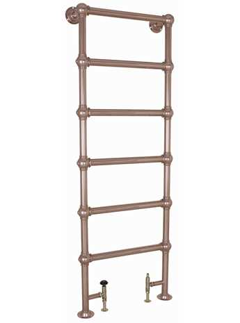 Heated copper towel rail floor mounted with 6 bars