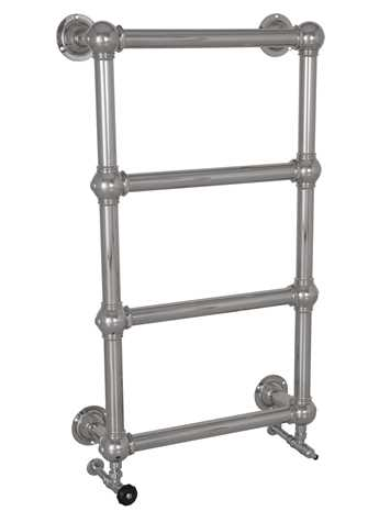 Wall mounted heated towel rail in chrome - 4 bars