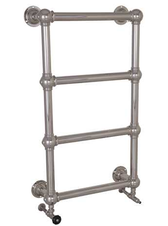 Wall mounted heated towel rail in nickel - 4 bars