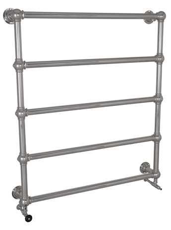 Wall mounted heated towel rail in chrome - 5 bars