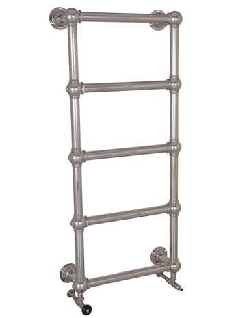 Wall mounted heated towel rail in nickel - 5 bars