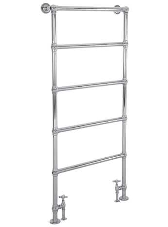 Heated floor mounted towel rail in chrome - 5 bars