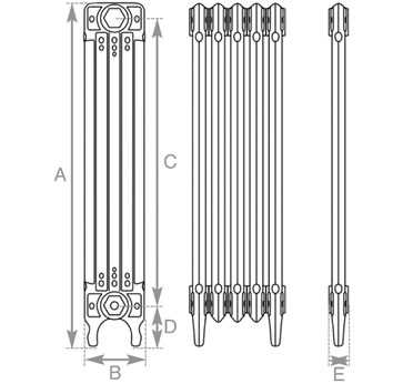 L'Art Deco radiator measurements