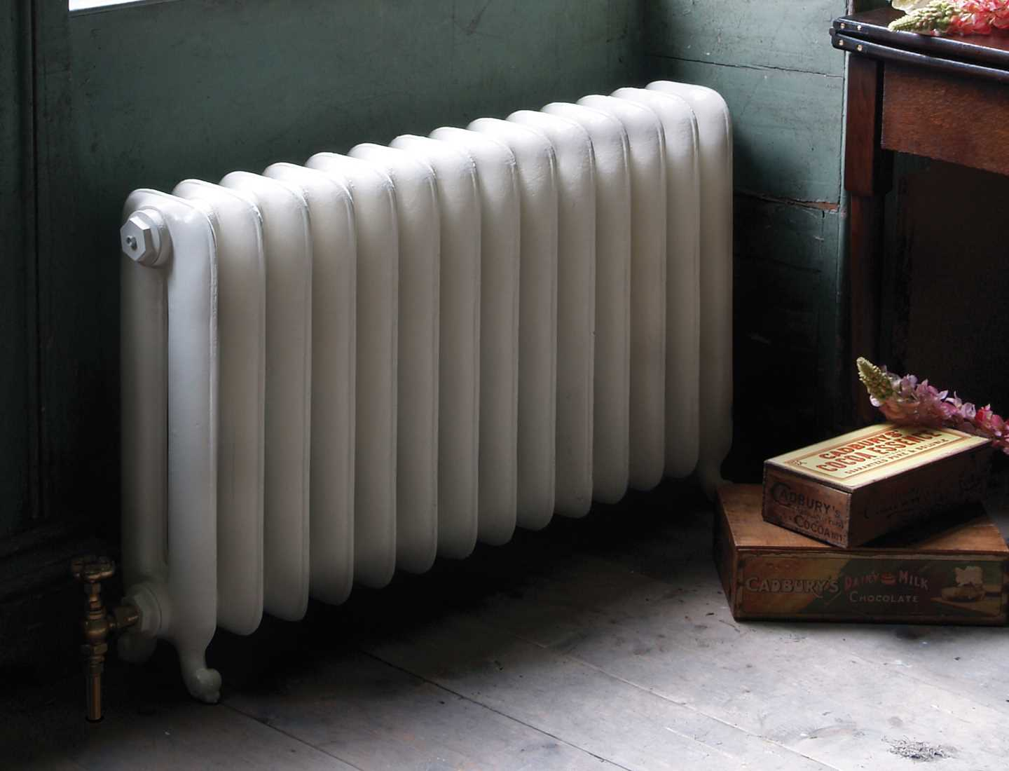 Traditional cast iron Duchess radiator - 2 column parchment white paint