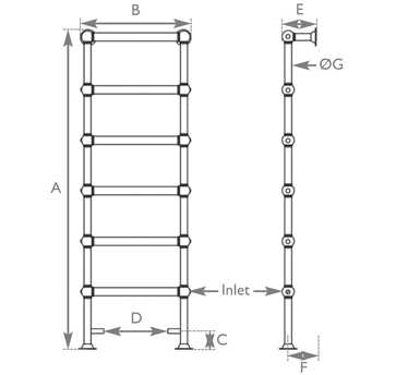Colossus floor mounted towel rail measurements