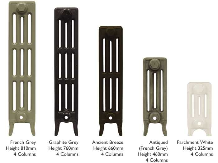 Victoriana 4 column cast iron radiator heights