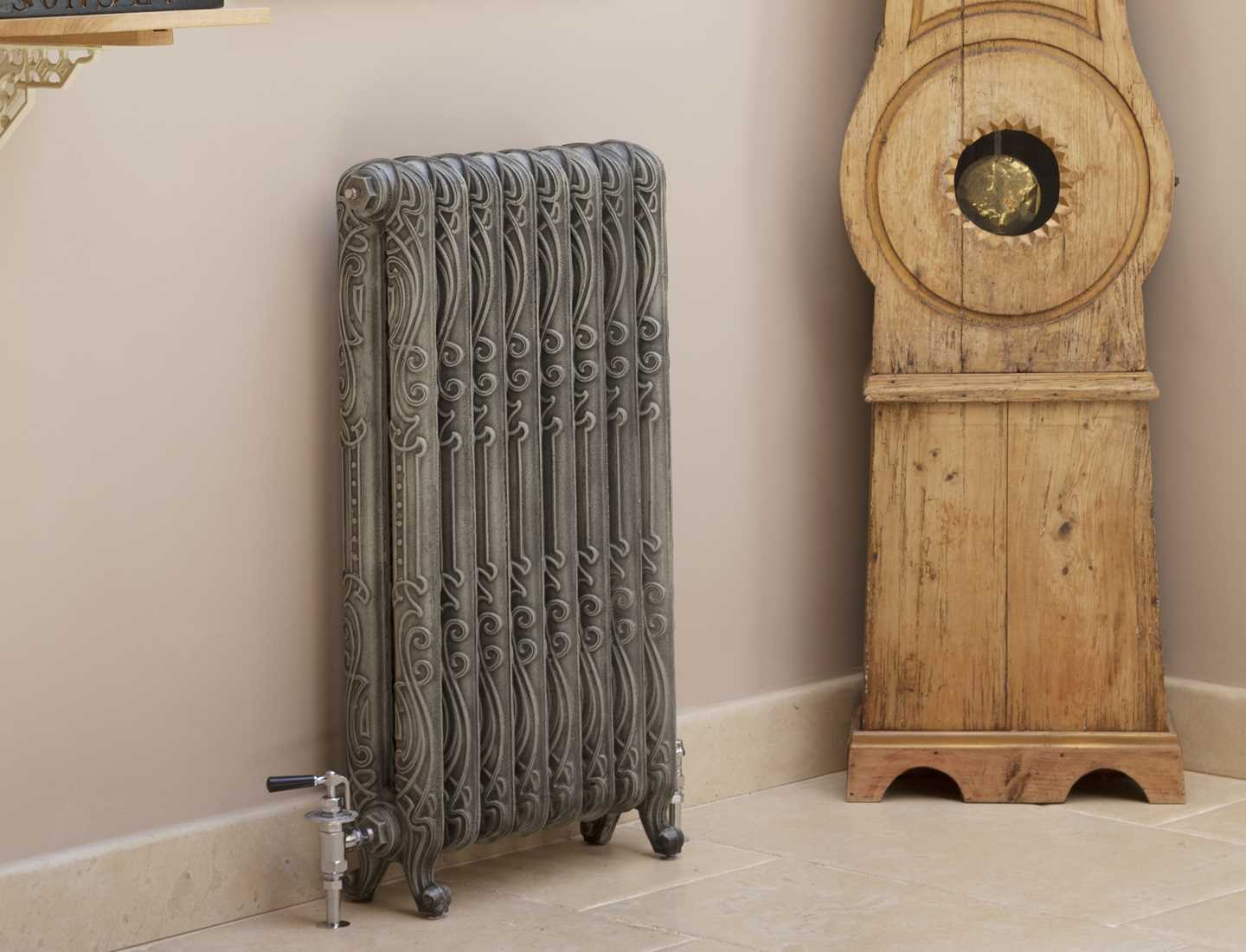 Jazz radiator finished in antiqued french grey paint