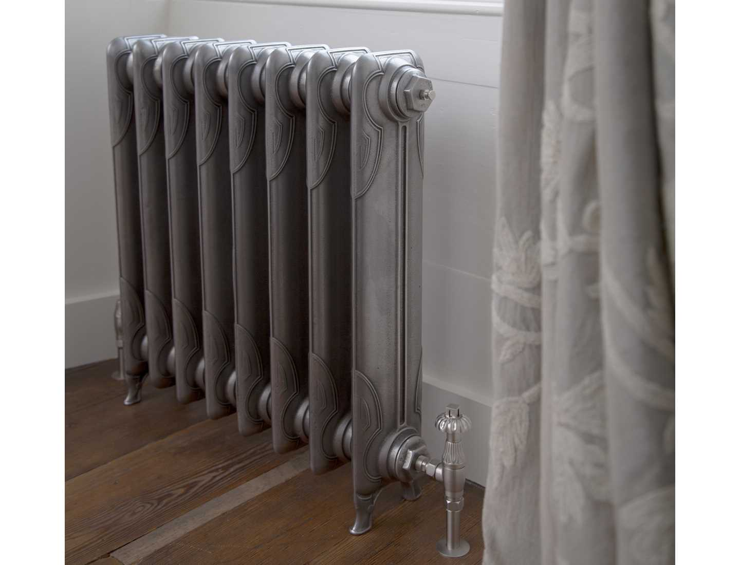 L'Art Nouveau radiator, hand burnished with chrome thermostatic traditional valve set