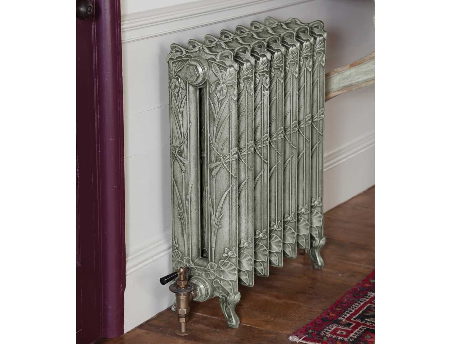 Lily cast iron radiator finished in antiqued french grey paint