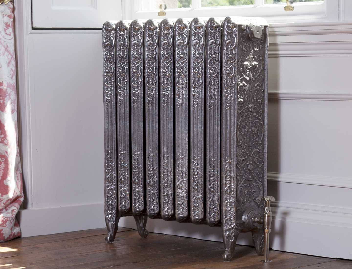 Michaleangelo section radiator, hand burnished with Crocus radiator valves