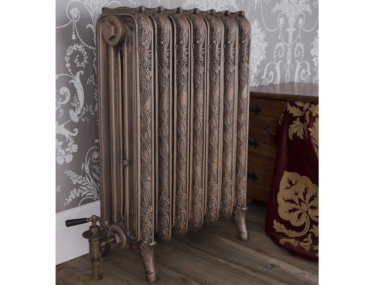 Braid 4 column radiator in antique hammered gold finish with manual radiator valve