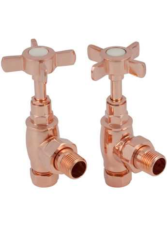 Manual towel rail radiator valves copper