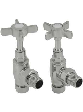 Manual towel rail radiator valves nickel