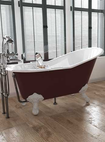 Como Without Tap Holes Cast Iron Bath Painted F & B Incarnadine