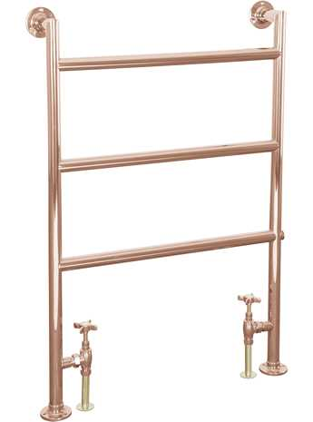 Matlock brass 3 bar floor mounted towel rail copper