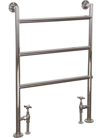 Matlock brass 3 bar floor mounted towel rail nickel