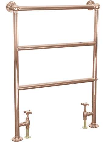 York brass floor mounted 3 bar towel rail copper