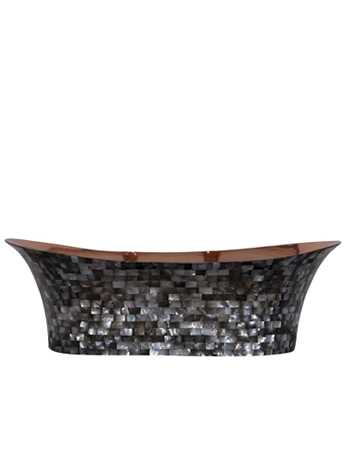 Copper bateau wash basin with dark mother of pearl exterior