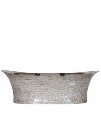 Copper bateau wash basin with light mother of pearl exterior and nickel interior