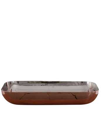 Oblong copper wash basin with nickel interior