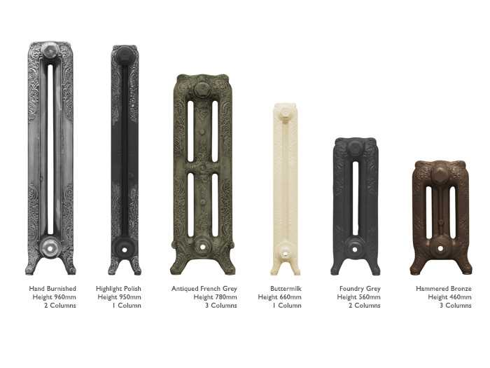 Baroque cast iron radiator heights