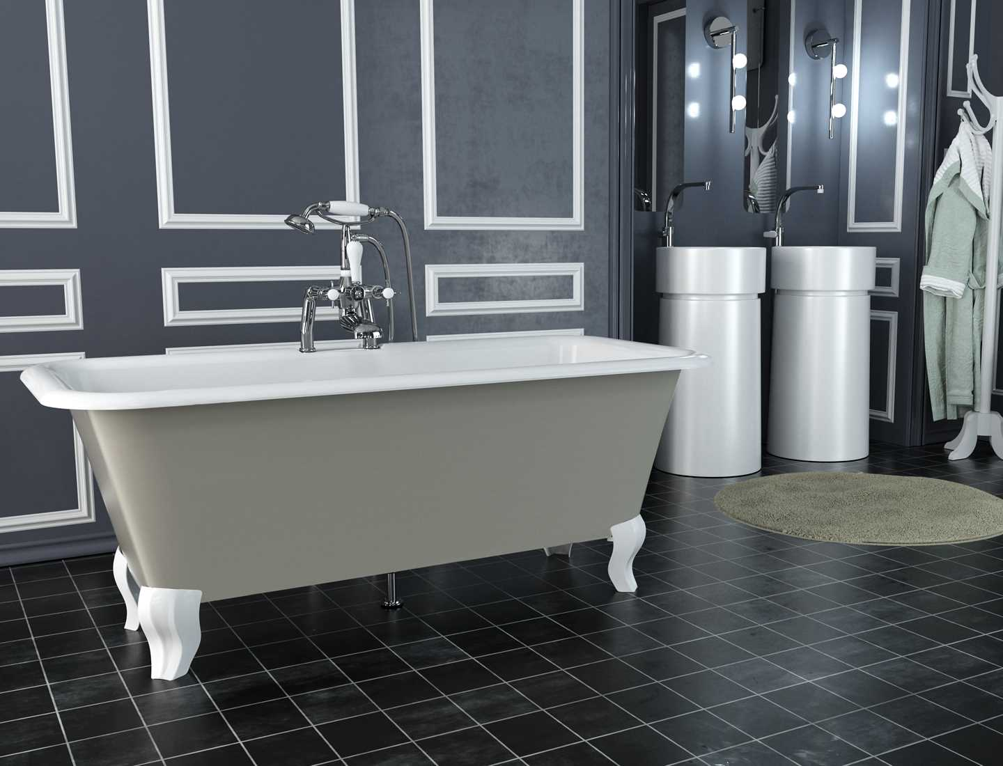 Modena painted cast iron bath with white feet